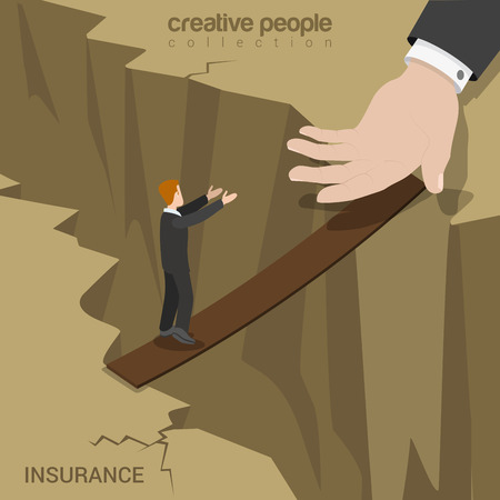 abyss: Flat 3d isometric insurance web infographics concept. Businessman walking on plank board over abyss to the huge support hand. Creative people collection.