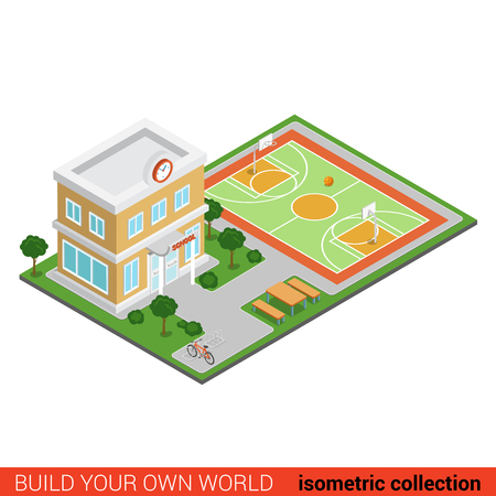 building block: Flat 3d isometric creative school modern building stadium block info graphic concept. Build your own infographics world collection. Illustration