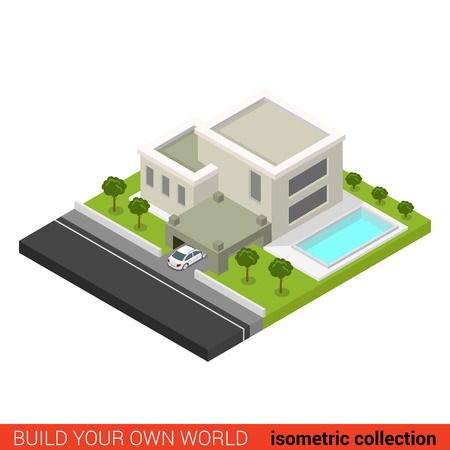 backyard: Flat 3d isometric creative modern stylish family house car parking backyard pool building block info graphic concept. Build your own infographics world collection.