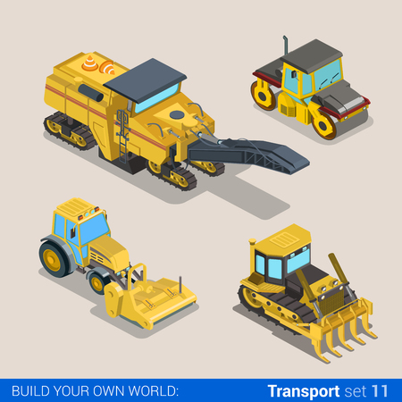compactor: Flat 3d isometric style modern road highway surface making construction site wheeled track vehicles transport web app icon set concept. Brush cutter hedge trimmer asphalt roller compactor grubber. Illustration