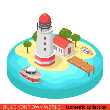 building block: Flat 3d isometric creative modern lighthouse island marine boat building block info graphic concept. Build your own infographics world collection.