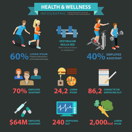 health and wellness: Health wellness flat style thematic sports infographics concept. Healthy lifestyle exercise activity fast food smoking organic food running info graphic. Conceptual web site infographic collection. Illustration