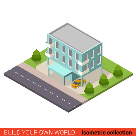 condominium: Flat 3d isometric creative municipal office condo condominium hostel dormitory modern building block info graphic concept. Build your own infographics world collection.