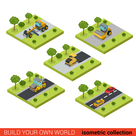 road surface: Flat 3d isometric style modern road highway surface making construction site wheeled track vehicles transport on round building block platforms web app icon set concept. Asphalt concrete maker roller.