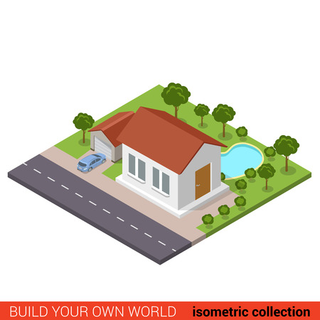 suburb: Flat 3d isometric suburb family house garage parking backyard pool park modern building block info graphic concept. Build your own infographics world collection.