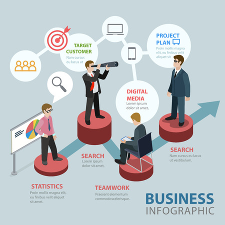 project plan: Business flat 3d isometric thematic infographics concept. Target customer digital media project plan research statistics teamwork pedestals info graphic. Conceptual web site infographic collection.