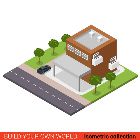 office block: Flat 3d isometric creative two floor small business office condo condominium with parking modern building block info graphic concept. Build your own infographics world collection.
