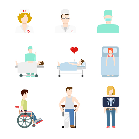 hospital patient: Creative flat style concept vector people icon set for hospital patient medical team checkup fluoroscopy x-ray crutches wheelchair doc nurse. Creative people collection.