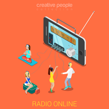 internet radio: Flat 3d isometric online internet radio streaming listening web infographics concept. Huge smartphone and micro people mini jack headphones relax listen dance. Creative people collection. Illustration