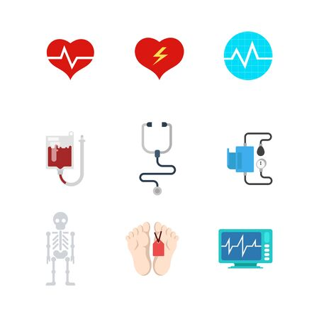 morgue: Flat style creative modern mobile life death web app concept icon set. Heart rate decease monitor blood transfusion system pressure stethoscope morgue leg label infographics. Website icons collection.