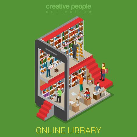 Flat 3d isométrique bibliothèque en ligne notion web infographies. Micro personnes marchant dans lib intérieur smartphone tablette e-book livre de lecture plateau support. Creative collection de personnes.