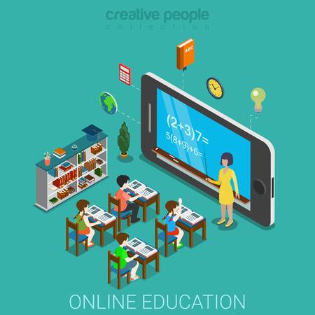 Creative Education cellulare infografica web concetto piatto 3d isometrico conoscenza formazione. Maestro prima di enorme smartphone con formula a classe schermo e allievo della scuola. persone collezione creativa. Vettoriali
