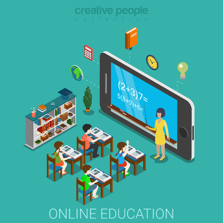 Flat 3d isometric creative mobile education web infographics education knowledge concept. Teacher before huge smartphone with formula on screen and pupil school class. Creative people collection.