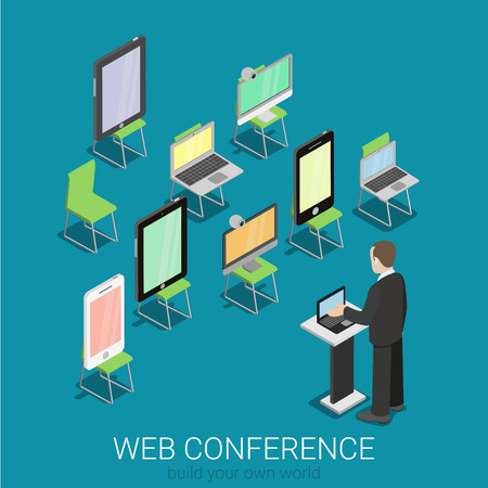 real people: Flat 3d isometric online internet web conference infographics concept. Businessman with laptop on tribune and tablet smart phone laptop computer on seats replacing real people. Creative collection.