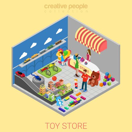 juguetes: tienda de juguetes concepto 3D isométrica plana infografía web. Kid padres del niño en la tienda de regalos entre elección vendedor recepción de la cajera. personas colección creativa.