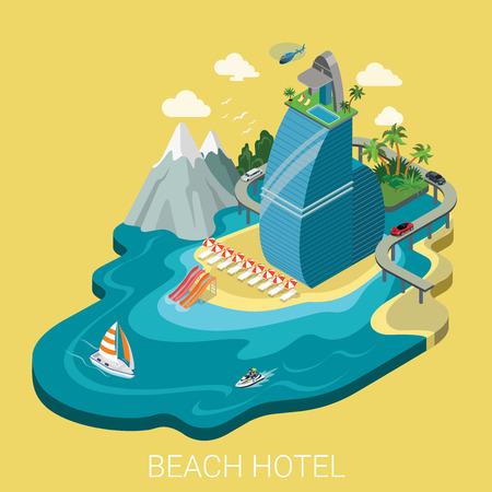 travel star: Flat 3d isometric creative beach hotel web infographics travel vacation concept. Luxury class five star resort island mountain road yacht water bike jetski. Creative people collection.