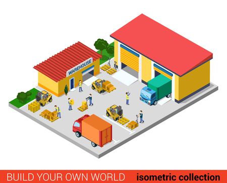 ware house: Flat 3d isometric creative modern warehouse building block info graphic concept. Ware house backyard transport forklift loading box pallet. Build your own infographics world collection.