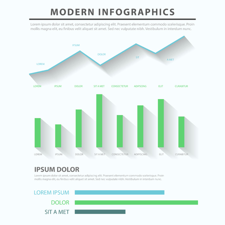 data line: Abstract business flat style infographics concept dark background template. Line chart bar graph data info graphic. Conceptual web site infographic collection.