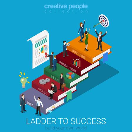 Vlakke 3d isometrische ladder naar succes web infographics concept. Zakenlieden op groot boek stap manier idee werkplan bevordering succes. Creatieve mensen collectie.