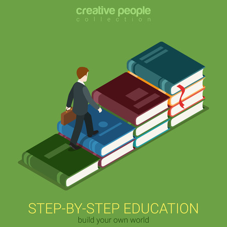 heaps: Flat 3d isometric creative way to education and success web infographics concept. Businessman walking on ladder made of big book heaps. Creative people collection.