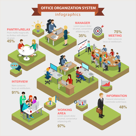 information symbol: Office organization system structure flat 3d isometric style thematic infographics concept. Manager meeting information interview working area info graphic. Conceptual web site infographic collection.