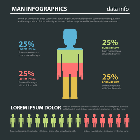 focus group: Marketing social focus group flat style abstract infographics concept template. Man icon shape percent diagram male data info graphic. Conceptual web site infographic collection. Illustration