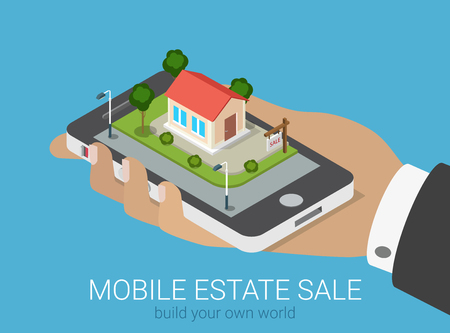 real people: Flat 3d isometric creative mobile real estate sale web infographics concept. Big hand with smartphone on micro house street block. Creative people collection.