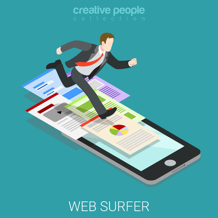technology symbols metaphors: Flat 3d isometric mobile web surfer infographics concept. Businessman running big webpages path smart phone. Creative people collection. Illustration