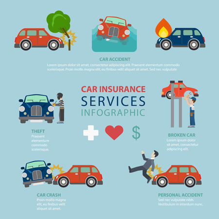 thematic: Car insurance service flat style thematic infographics concept. Road accident theft crash broken fire life info graphic. Conceptual web site infographic collection. Illustration