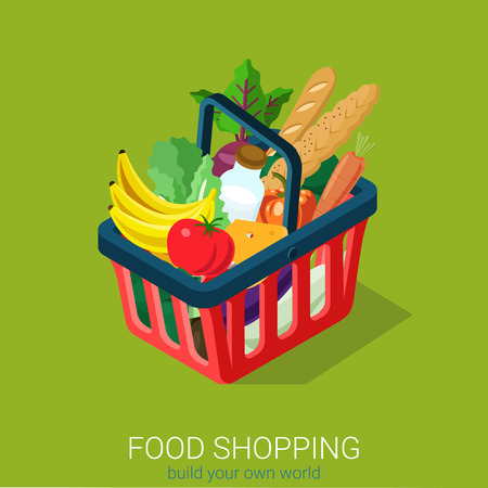 web shopping: Flat 3d isometric food grocery shopping web infographics concept. Shopping cart full of vegetable fruit milk cheese baguette bread. Creative people collection. Illustration