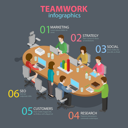 office staff: Teamwork office staff meeting room table brainstorming flat 3d isometric style thematic infographics concept. Marketing strategy SEO research info graphic. Conceptual web site infographic collection.