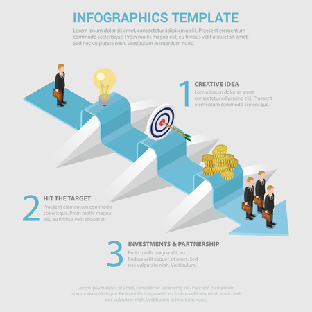 obstacles: Way to success 3 step obstacle process flat 3d isometric style thematic infographics concept. Creative idea hit target investment partnership info graphic. Conceptual web site infographic collection. Illustration