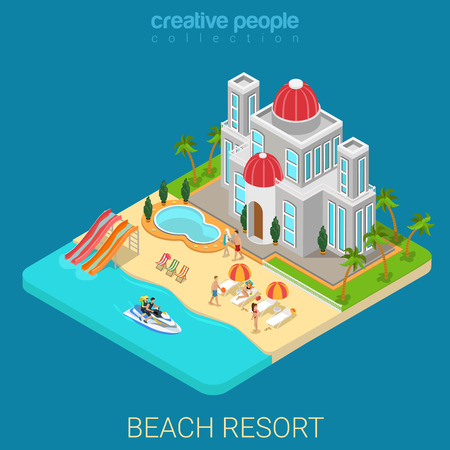 resorts: Flat 3d isometric creative beach hotel web infographics travel vacation concept. Luxury class five star resort island water slide bike jetski. Creative people collection.