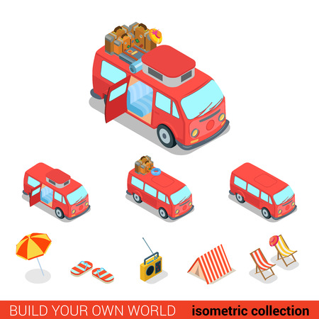 isometry: Flat 3d isometric creative hippie van modern info graphic vector concept icon set. Build your own infographics world collection. Illustration