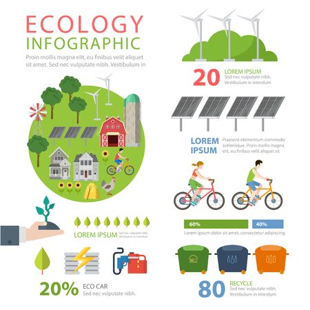 thematic: Ecology friendly flat style thematic infographics concept. Eco food farming agriculture green energy wind turbine sun battery cycling recycling info graphic. Conceptual web site infographic collection