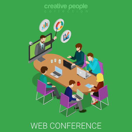 Flat 3d isometric online education webinar conference web infographics concept. Teacher coach from web camera and student class meeting room. Creative people collection.