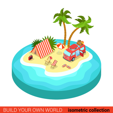 outdoor chair: Flat 3d isometric hippie van outdoor tent lounge beach chair on tropic island modern info graphic concept. Build your own infographics world collection.
