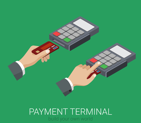 usage: Flat 3d isometric credit card payment POS terminal PIN code usage web infographics concept. Creative people collection.