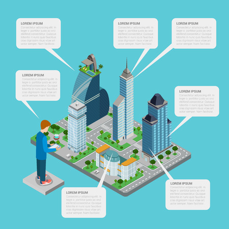 megalopolis: City estate realty building megalopolis flat style thematic infographics concept. Business office center mall shop call out label man tablet info graphic. Conceptual web site infographic collection.