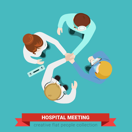 Hospital medical handshake team meeting. Top view flat web infographic medicine healthcare concept vector. Doctor patient nurse surgeon assistant. Creative people collection.