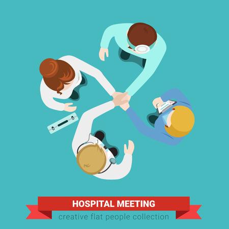 Ziekenhuis medische handdruk teamvergadering. Bovenaanzicht vlakke baan infographic geneeskunde gezondheidszorg concept vector. Artsenpatiënt verpleegkundige chirurg assistent. Creatieve mensen collectie. Stock Illustratie