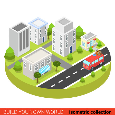 Flat 3d isometric hippie van in town street modern info graphic concept. Build your own infographics world collection.