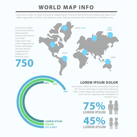 focus group: Gender marketing social focus group world map flat style thematic infographics concept template. Worldwide circular diagram male female data info graphic. Conceptual web site infographic collection.