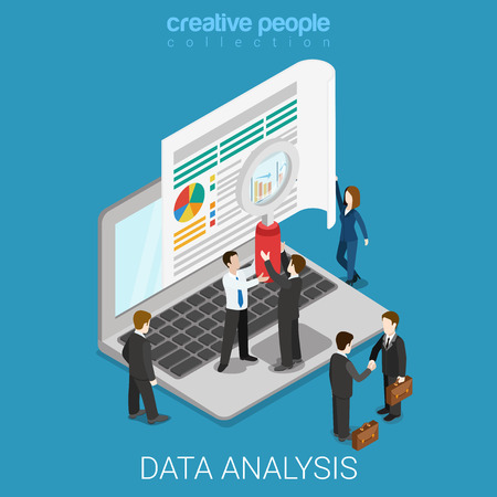 Flat 3D isometrische online data-analyse web infographics concept. Micro mensen houden vergrootglas voor grote scherm van de laptop. Creatieve mensen collectie.