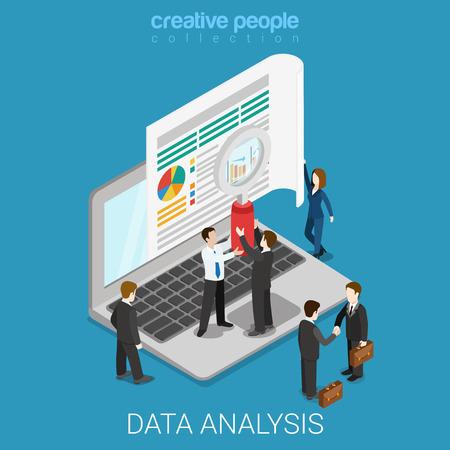 Piatto 3d isometrico analisi dei dati web concept infografica on-line. persone Micro tengono lente d'ingrandimento prima grande schermo portatile. persone collezione creativa.