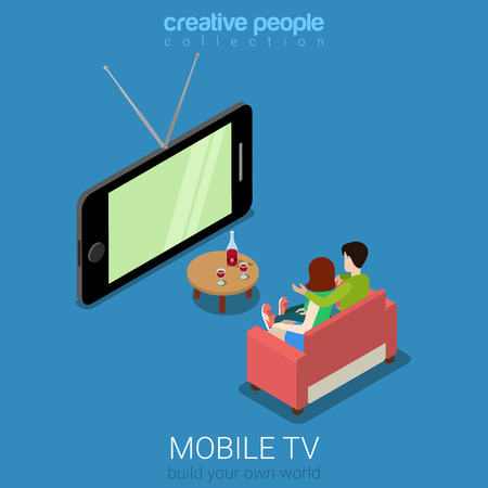 people watching tv: Flat 3d isometric mobile TV web infographics concept. Couple on sofa watching television on big smart phone screen. Creative people collection.