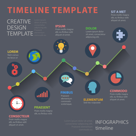 thematic: Timeline multicolor flat style thematic infographics concept. Time line graph diagram colorful icon info graphic. Conceptual web site infographic collection. Illustration