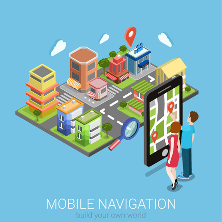 pin point: Flat 3d isometric creative mobile navigation web infographics concept. Couple touching big smartphone and city model map pin point. Creative people collection.
