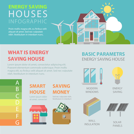 Energy saving house flat style thematic infographics concept. Smart technology home modern window efficient lamp solar panel wall insulation info graphic. Conceptual web site infographic collection.