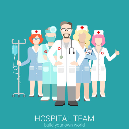 Flat style modern web infographic hospital teamwork workforce team staff management concept. Doctor nurse surgeon nursing. Creative people young businessmen collection.